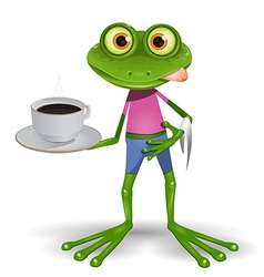 Frog with cup of coffee vector