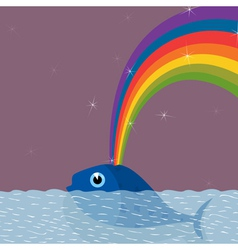 from a whale the rainbow pours out a vector image