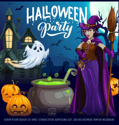 Halloween party cartoon poster with witch vector