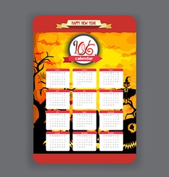 Halloween pumpkins background Calendar 2016 year vector