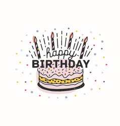 Happy birthday lettering handwritten with elegant vector
