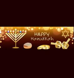 happy hanukkah banner realistic style vector image