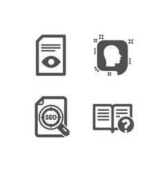 Head seo file and view document icons help sign vector