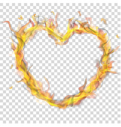 heart of fire flame with smoke vector image