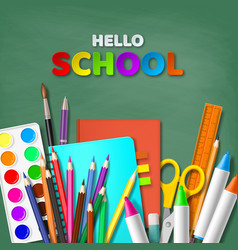 Hello school typography design vector