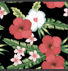 hibiscus plumeria green leaves seamless black vector image