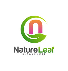 initial n with nature leaf logo design template vector image