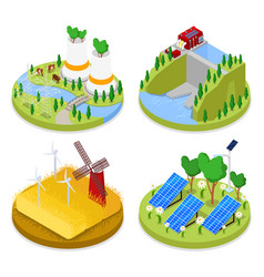 Isometric ecology concept renewable energy vector