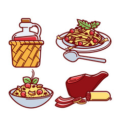 Italian traditional delicious food isolated vector