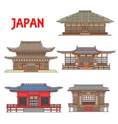 Japan buildings architecture japanese temples vector