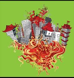 japanese oriental city concrete houses vector image