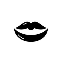 lips black icon sign on isolated vector image