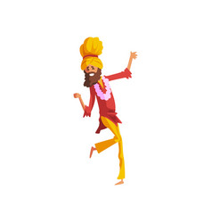 Male dancer in traditional indian clothes dancing vector