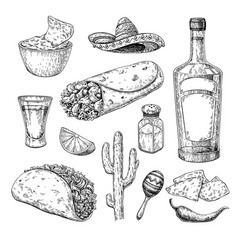 Mexican cuisines drawing traditional food and vector