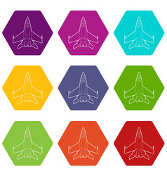 military jet icons set 9 vector image