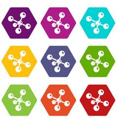 molecule chemistry icons set 9 vector image