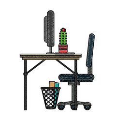 Office with computer scribble vector