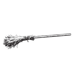 Old broomstick halloween which magic broom hand vector