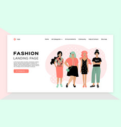 online shopping girl fashion landing page vector image
