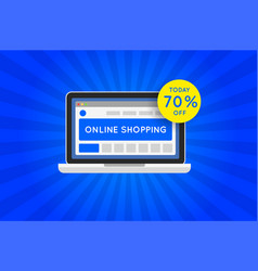online shopping website sale icon vector image