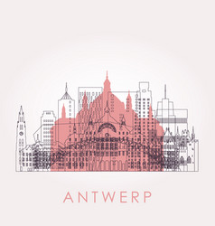 outline antwerp skyline with landmarks vector image
