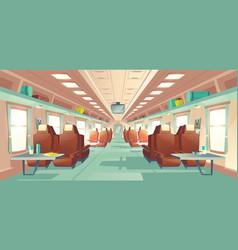 passenger train wagon interior cartoon vector image