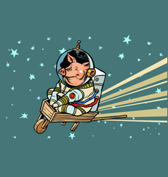 pig astronaut rides on a wooden wheelbarrow vector image