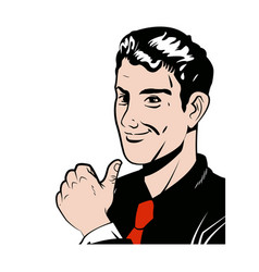 pop art man thumb up like with red tie vector image