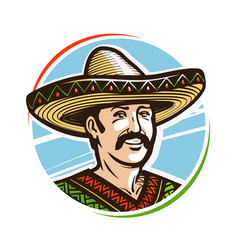 Portrait of happy smiling mexican in sombrero vector