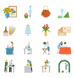 Professional Interior Decorators Flat Icons vector