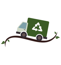 recycle truck ecology symbol icon vector image