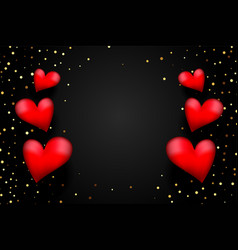 red 3d hearts with golden confetti on black vector image