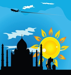 Religious monument travel with couple vector