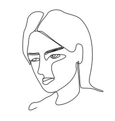 sad woman one line art portrait facial expression vector image