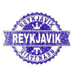 Scratched textured reykjavik stamp seal with vector