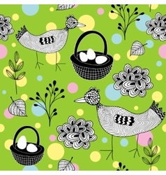 Seamless Easter pattern with doodle birds on the vector image