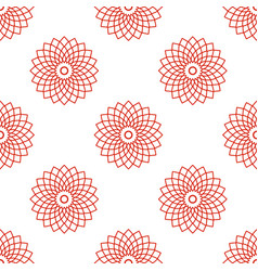 Seamless pattern with red mandala floral geometric vector