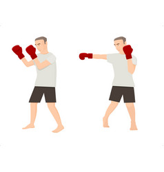 set of cartoon men doing boxing exercises vector image