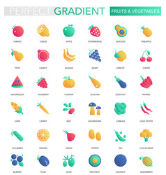 set of trendy flat gradient fruits and vector image