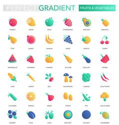 set of trendy flat gradient fruits vector image