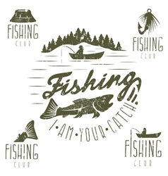 Set of vintage grunge labels with fishing theme vector