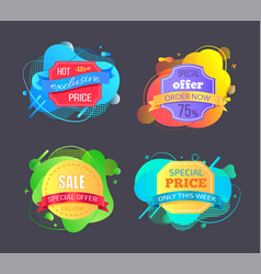 Set sale labels abstract liquid shapes isolated vector