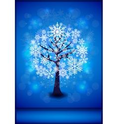 Snowflakes tree background vector