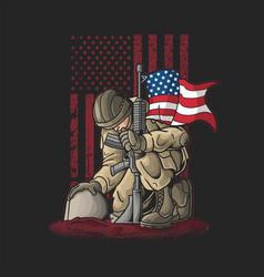 Soldier kneel for the fallen vector