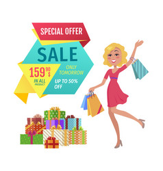 Special offer banner with person shopping vector