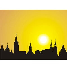 Sunrise over the historic city vector