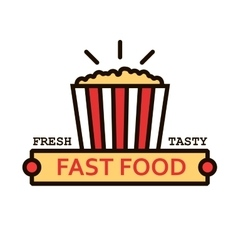 Takeaway popcorn bucket retro thin line symbol vector
