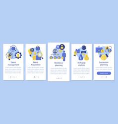 Talent management onboarding mobile app page vector