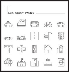 Travel Element Line Icon Set 9City and urban vector