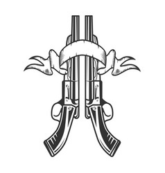 two sawn-off shotgun with ribbon vector image